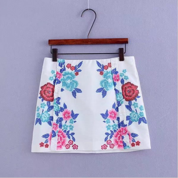 High waist slim package hip skirt female flower printing