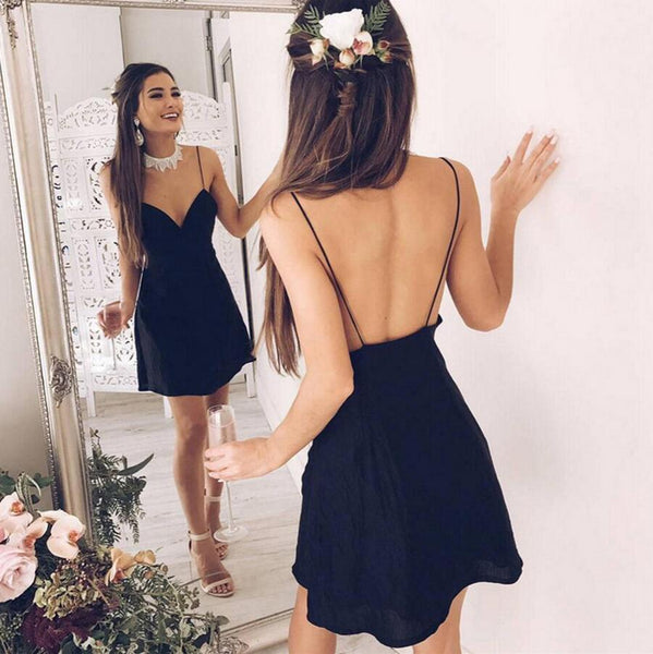Summer new women's v-neck black straps dress