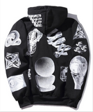 Artist space pattern plus cashmere hoodie men and women sweater coat