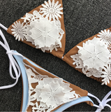 2018 New Lace Flower Swimwear Solid Color Split Swimsuit
