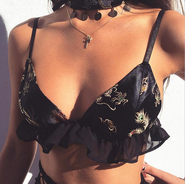 Stylish Women Sexy Black Fungus Edge V Collar Embroidery Gauze Stitching Bra Sleeveless Top I12015-1