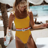 Beach Trending Women Stylish Pure Color Sexy Backless Vest Type Waist Belt One Piece Bikini Swimsuit Bathing White I13022-1