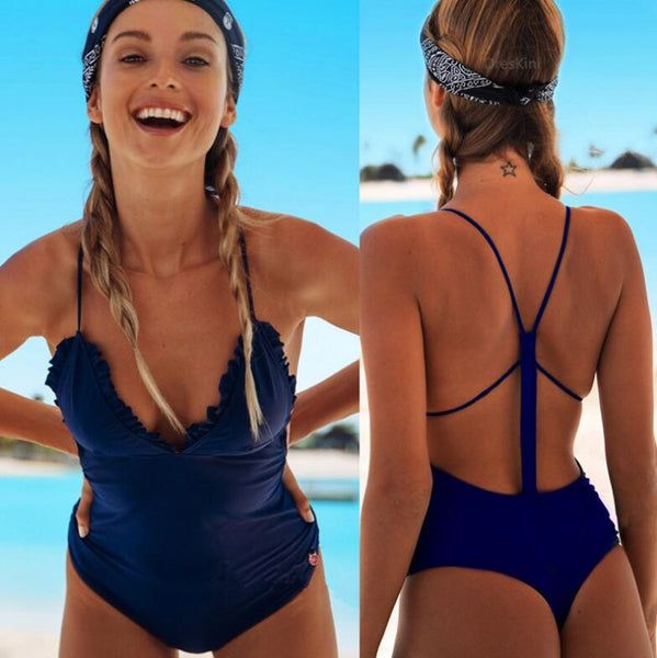Trending Women Stylish Pure Blue V Collar Backless Falbala One Piece Bikini Swimsuit Bathing
