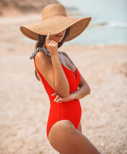 Sexy Women Stylish Pure Red V Collar Single Shoulder Strap One Piece Bikini Swimsuit Bodysuit