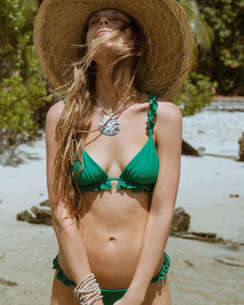 Sexy Women Beach Pure Color Two Piece Bikini Swimsuit Bathing Green