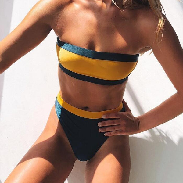 Hot Sale Stylish Women Sexy Stripe Strapless High Waist Two Piece Bikini Swimsuit Bathing