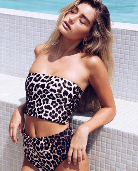 Sexy Women Stylish Leopard Print  Strapless High Waist Two Piece Bikini Swimsuit Bathing