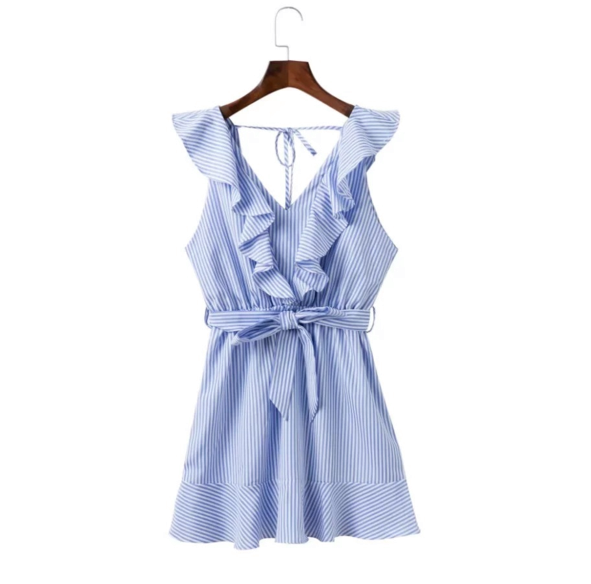 Fashion stripe lotus leaf A word skirt summer new light blue vest dress