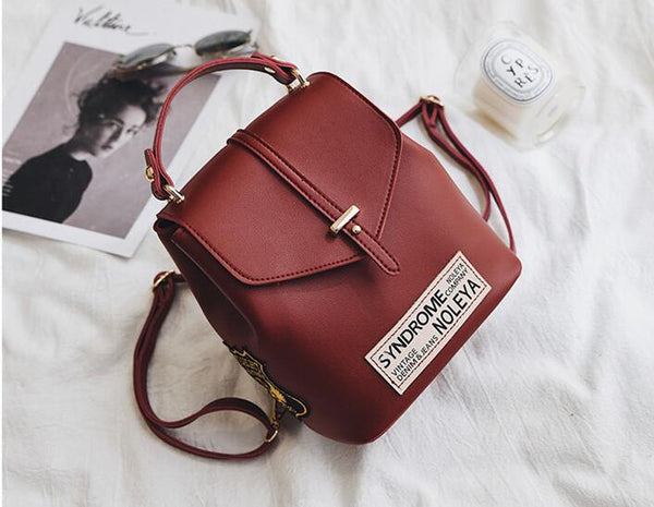 Fashion Trending PU Portable backpack Wine red
