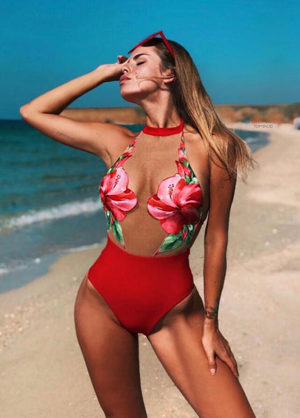 New Trending Women Stylish Net Yarn Perspective Sexy Flower One Piece Bikini Swimsuit Bathing