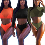 Fashion Women Sexy Three Piece Swimsuit Pure Color Orange Black And Long Sleeve Mesh Sunscreen Top Two Piece Bikini(3-Color) I/A