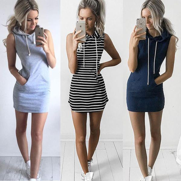 New fashion Sexy-Women-Boho-Summer-Hooded-Bodycon-Sleeveless-Sexy-Party-Cocktail-Mini-Dress