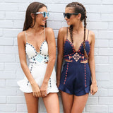 Fashion Sexy Hollow V-Neck Sleeveless Backless Embroidery Shorts Romper Jumpsuit