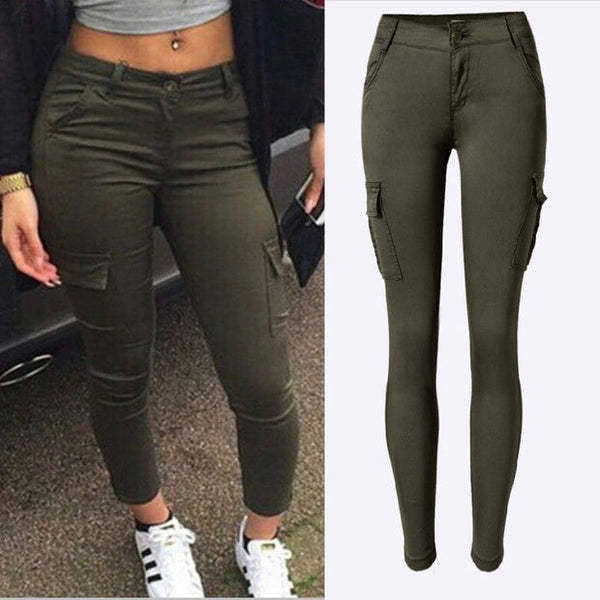 Fashion high quality army green woman sexy low waist jeans