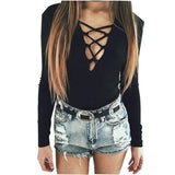 Black Grey Strappy Jumpsuit Long Sleeve Bodysuits Overalls Bodysuit Summer Style Jumpsuit 2015 New Deep V Neck