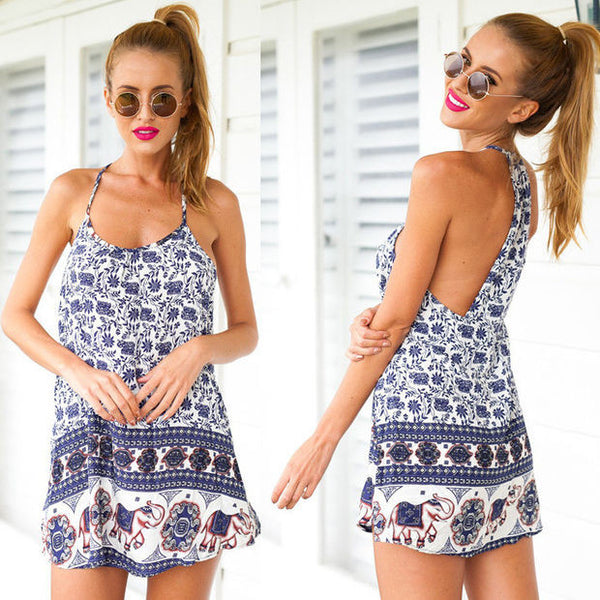 Fashion Sexy Retro Elephant Pattern Print Sleeveless Halter Mini Dress