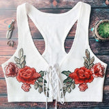 Fashion new Embroidery Flower Sexy Crisscross Strappy Vest Tank Top Cami