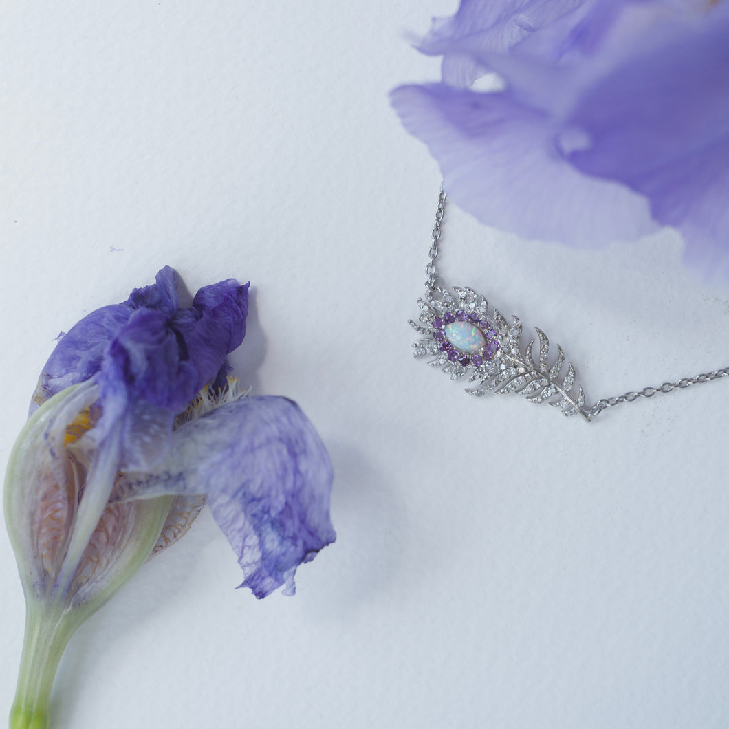 AMETHYST, OPAL & DIAMOND FEATHER NECKLACE ♡Jeanette