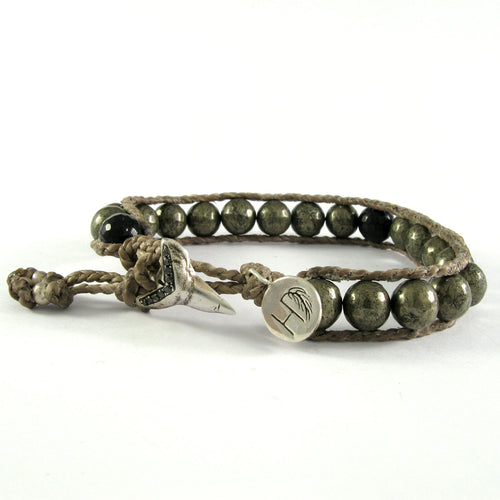 METAL BEEDS & BLACK DIAMOND SHARK TEETH BRACELET ♡ BUDDHA