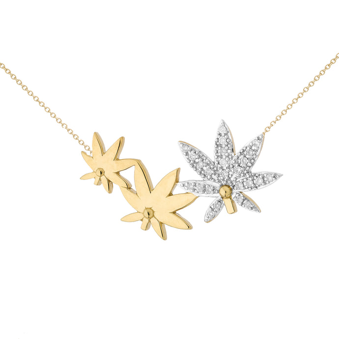 DIAMOND & GOLD CANNABIS NECKLACE ♡Laetitia