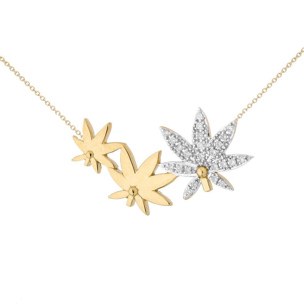 DIAMOND & GOLD HAPPY LEAF NECKLACE ♡Laetitia