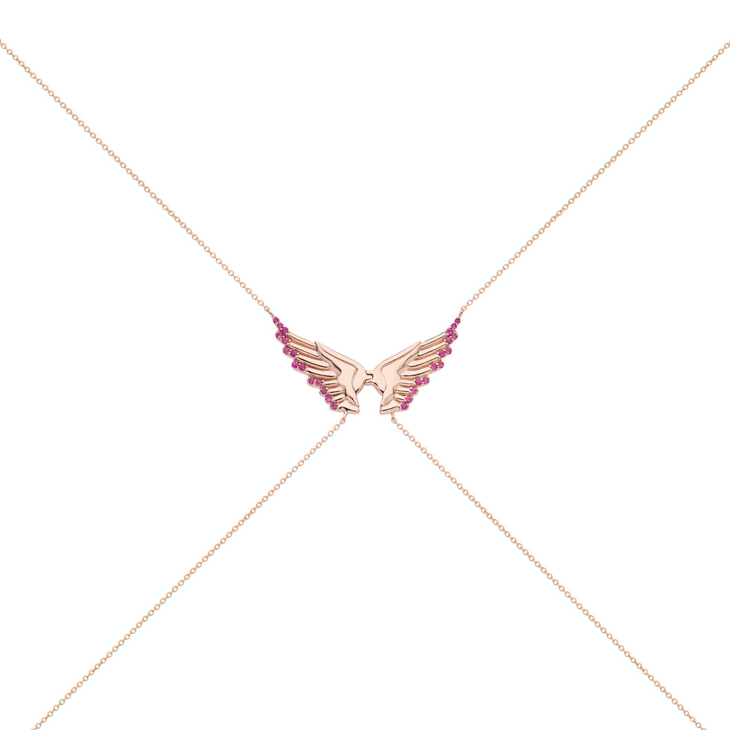 PINK SAPPHIRES WINGS & CROSS BODYCHAIN ♡Elena