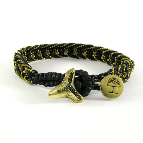 BRASS GOLDY CHAIN & BLACK DIAMOND SHARK TEETH BRACELET ♡ YOAN BLACK