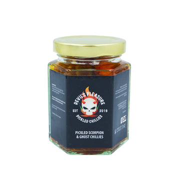 DEVILS PLEASURE PICKLED SCORPION & GHOST CHILLIES (220G)