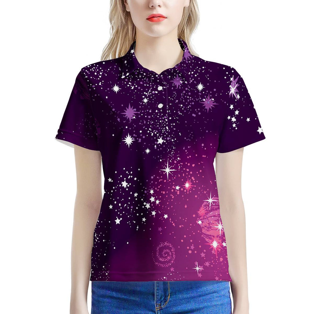 Beyond Our Galaxy - Heaven's Sparkle - Women's All Over Print Polo Shirt, Shirt, MerchHeaven - MerchHeaven.com