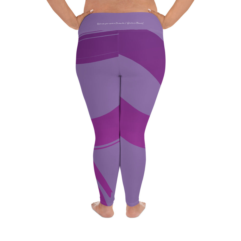 Yoga on the Beach (YOTB) - Purple - Yoga Plus Size Leggings with waistband, Leggings, YOGA on the Beach - MerchHeaven.com