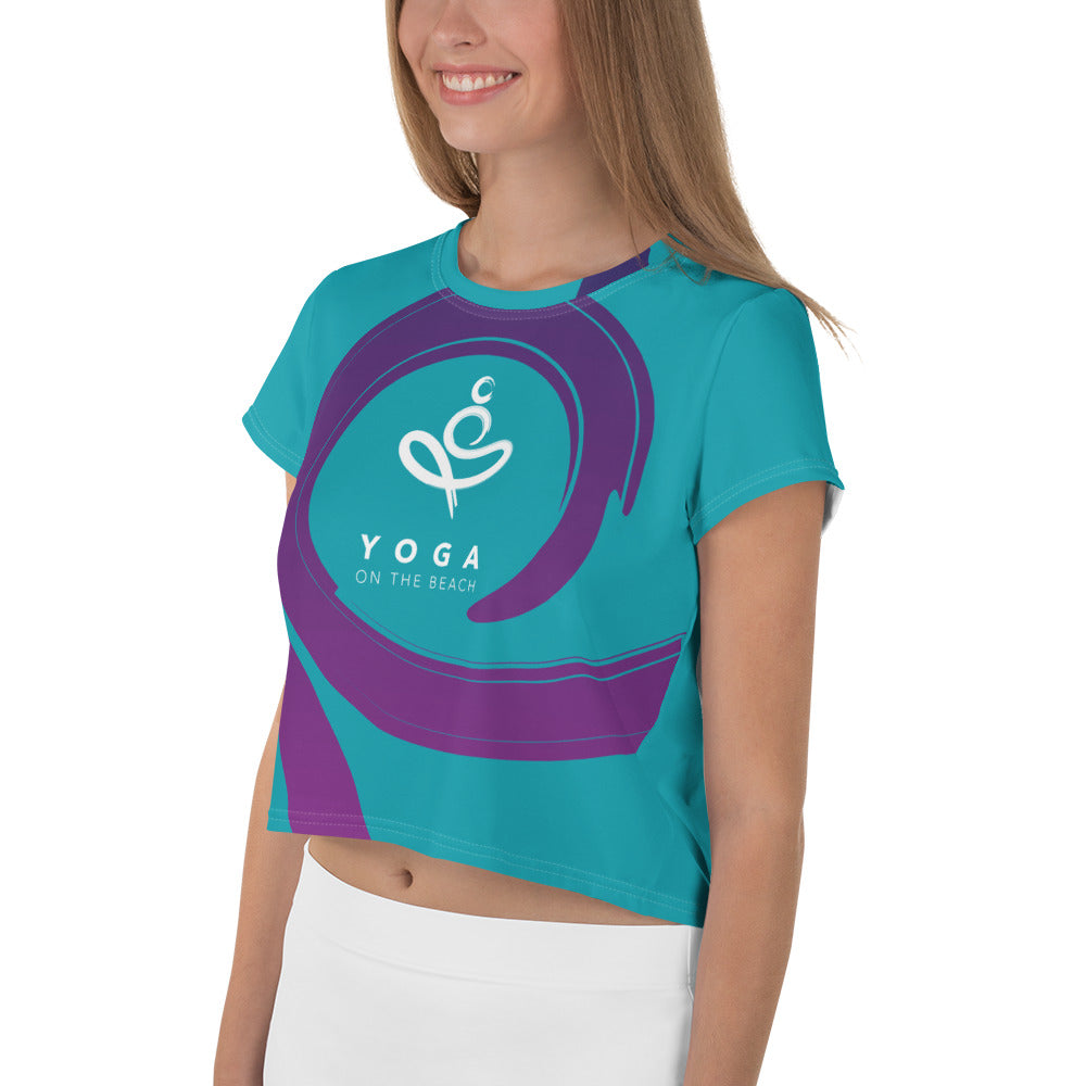 Yoga on the Beach (YOTB) - Teal - All-Over Print Crop Tee, Shirt, YOGA on the Beach - MerchHeaven.com
