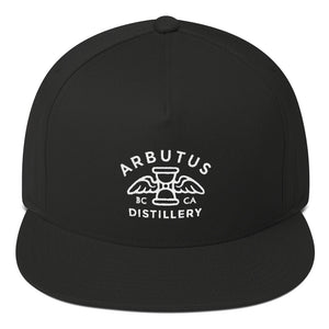 Arbutus Distillery - White Embroidered - Yupoong 6007 Five-Panel Flat Bill Cap, Hat, Arbutus Distillery - MerchHeaven.com