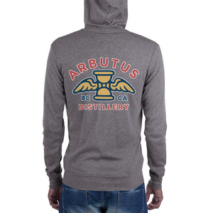 Arbutus Distillery - Logo 3 - Bella + Canvas 3939 Unisex Triblend Lightweight Zip Hoodie with Tear Away Label, Hoodie, Arbutus Distillery - MerchHeaven.com