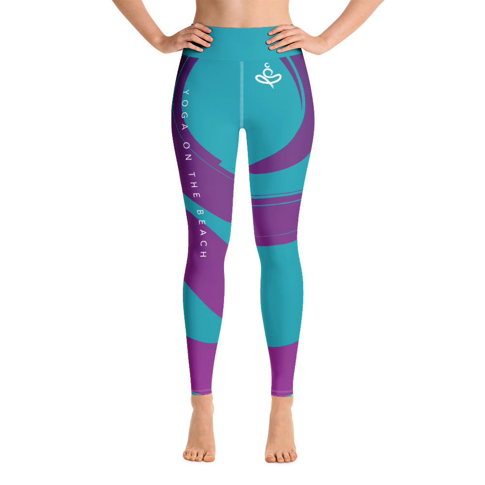 Yoga on the Beach (YOTB) - Teal - Yoga Leggings with waistband, Leggings, YOGA on the Beach - MerchHeaven.com
