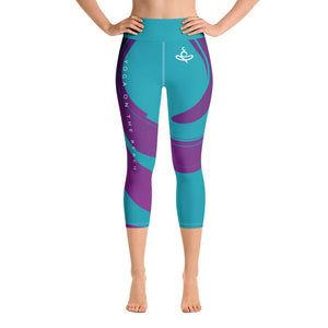 Yoga on the Beach (YOTB) - Teal - Yoga Capri Leggings with waistband, Leggings, YOGA on the Beach - MerchHeaven.com