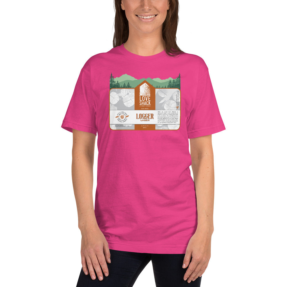 Love Shack Libations - Logger Lager Label with Trees Unisex T-Shirt, Shirt, Love Shack Libations - MerchHeaven.com