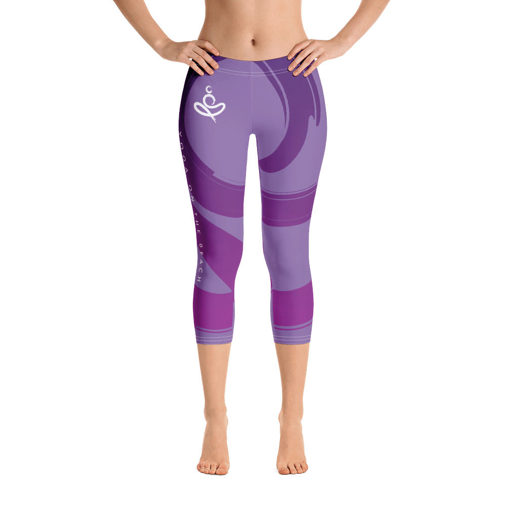 Yoga on the Beach (YOTB) - Purple - Capri Leggings, Leggings, YOGA on the Beach - MerchHeaven.com
