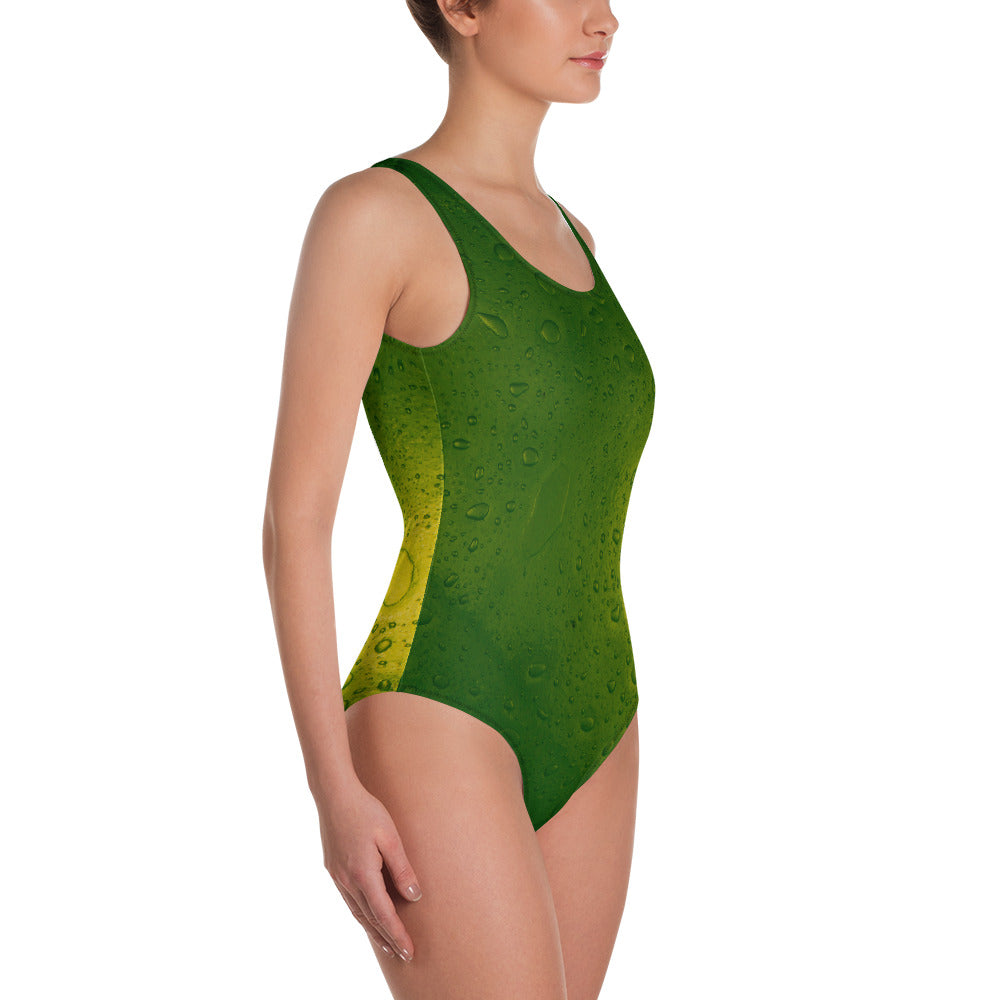'Green Leaf' One-Piece Swimsuit by Doug & Sabrina, Swimwear, Doug & Sabrina - MerchHeaven.com