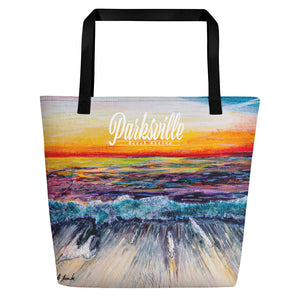 Parksville Deluxe Beach Bag 'All Creation Sings' artwork by Michelle Manke, Bag, Michelle Manke - MerchHeaven.com