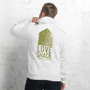 Love Shack Libations - Green Logo (back) - Bella + Canvas 3719 Unisex Fleece Pullover Hoodie, Hoodie, Love Shack Libations - MerchHeaven.com