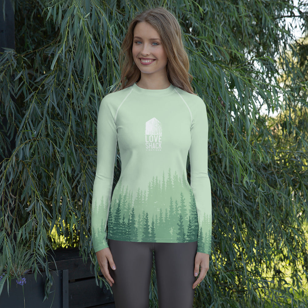 Love Shack Libations - Green Trees - Women's Technical Rash Guard with UV protection, Shirt, Love Shack Libations - MerchHeaven.com