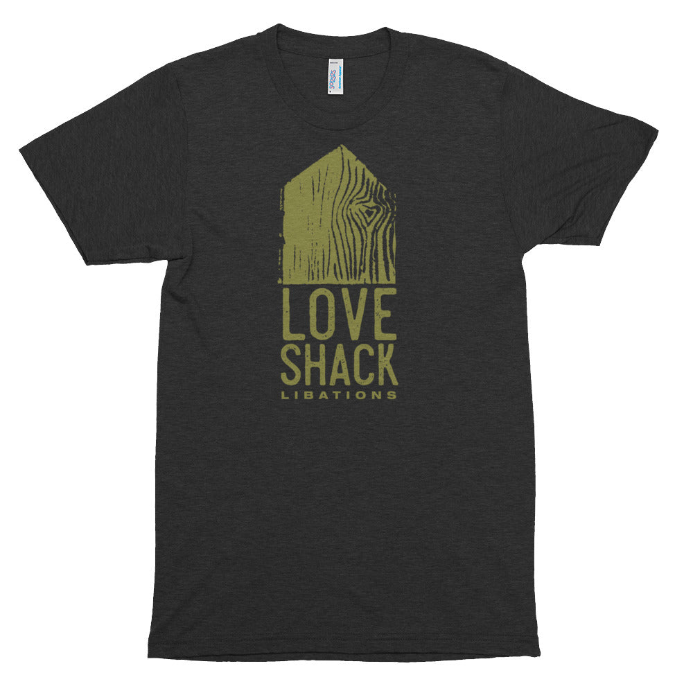 Love Shack Libations - Green Logo - American Apparel TR401 Unisex Tri-Blend Short Sleeve Track Shirt, Shirt, Love Shack Libations - MerchHeaven.com