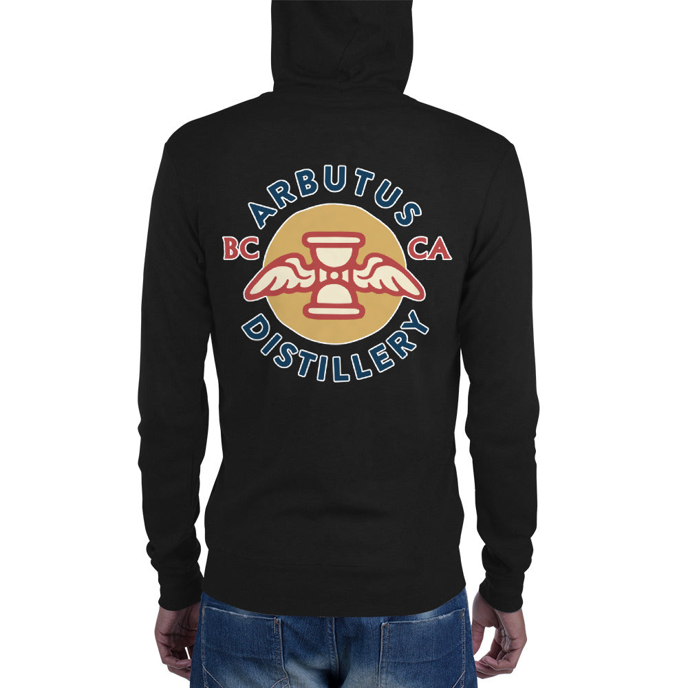 Arbutus Distillery - Logo 1 - Bella + Canvas 3939 Unisex Triblend Lightweight Zip Hoodie with Tear Away Label, Hoodie, Arbutus Distillery - MerchHeaven.com