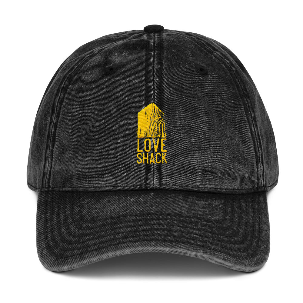 Love Shack Libations - Gold Embroidered - Vintage Cotton Twill Otto Cap, Hat, Love Shack Libations - MerchHeaven.com