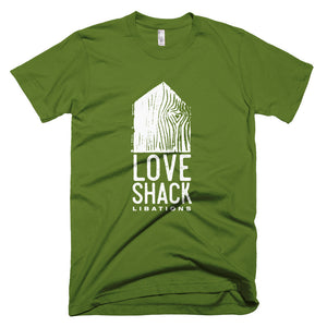 Love Shack Libations - White Logo - American Apparel 2001 Unisex Fine Jersey Short Sleeve T-Shirt, Shirt, Love Shack Libations - MerchHeaven.com