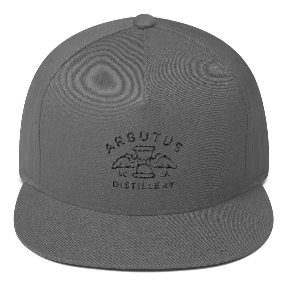 Arbutus Distillery - Black Embroidered - Yupoong 6007 Five-Panel Flat Bill Cap, Hat, Arbutus Distillery - MerchHeaven.com