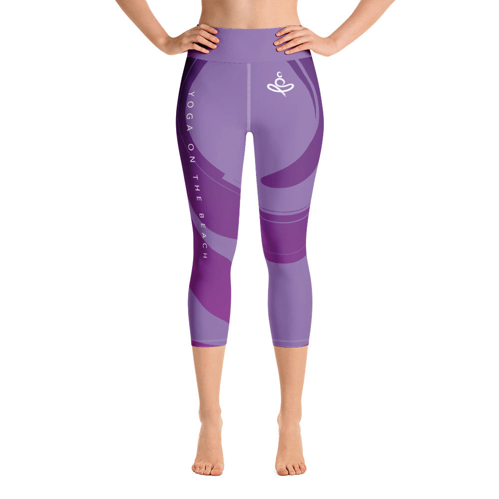 Yoga on the Beach (YOTB) - Purple - Capri Yoga Leggings with waistband, Leggings, YOGA on the Beach - MerchHeaven.com