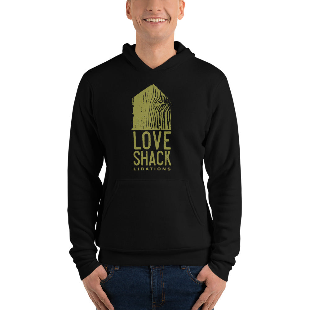 Love Shack Libations - Green Logo (front) - Bella + Canvas 3719 Unisex Fleece Pullover Hoodie, Hoodie, Love Shack Libations - MerchHeaven.com