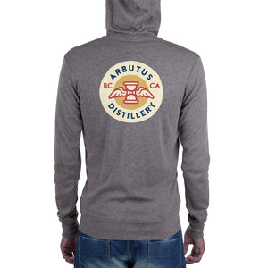 Arbutus Distillery - Circular Logo - Bella + Canvas 3939 Unisex Triblend Lightweight Zip Hoodie with Tear Away Label, Hoodie, Arbutus Distillery - MerchHeaven.com