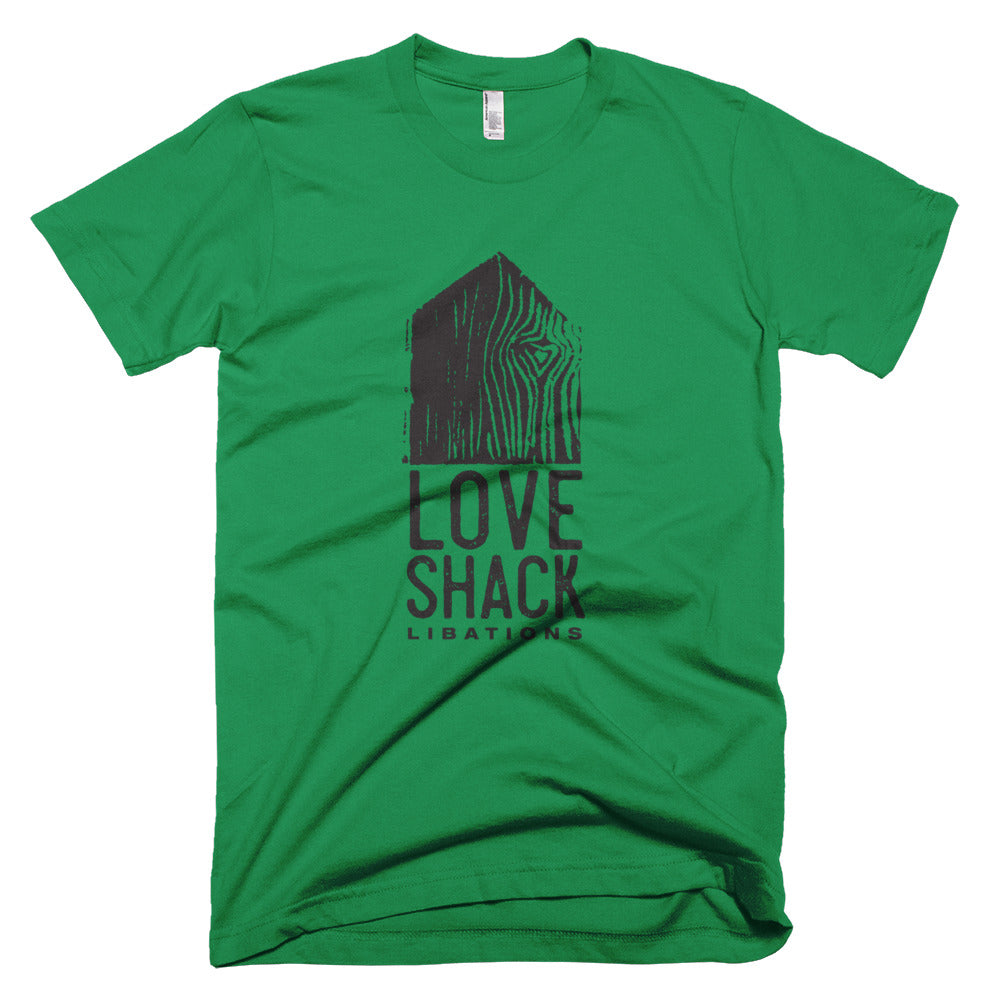 Love Shack Libations - Black Logo - American Apparel 2001 Unisex Fine Jersey Short Sleeve T-Shirt, Shirt, Love Shack Libations - MerchHeaven.com